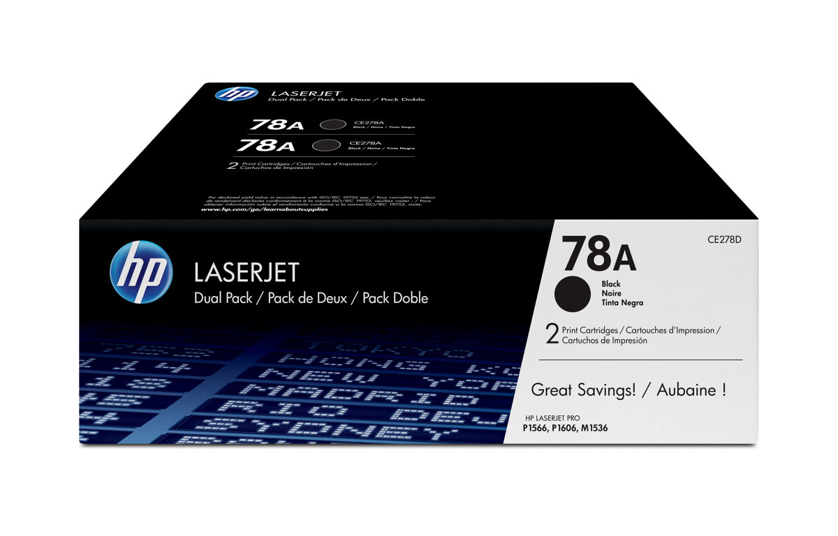 HP 78A (CE278D) LaserJet Pro P1606 M1536 MFP 2-Pack Black...