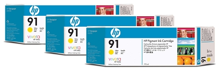 HP 91 (C9485A) 3-Pack Yellow...