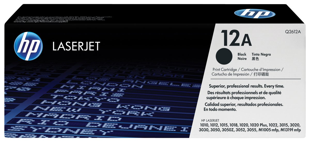 HP 12A (Q2612AG) Black Original LaserJet Toner Cartridge for...