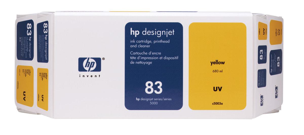 HP 83 (C5003A) Original Yellow Ink Cartridge Printhead and...