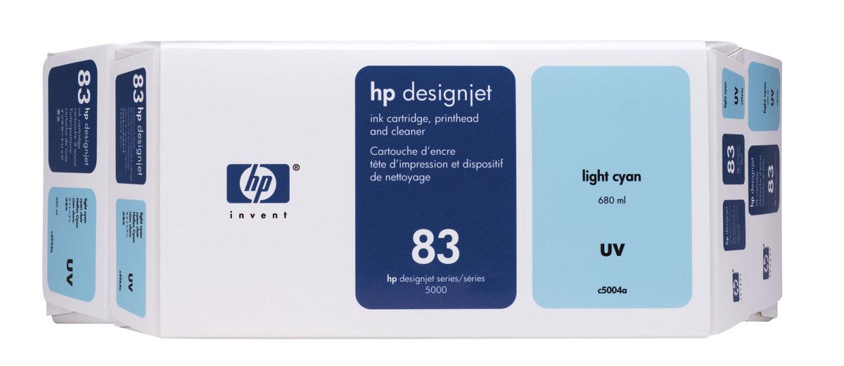 HP 83 (C5004A) Original Light Cyan Ink Cartridge Printhead and...