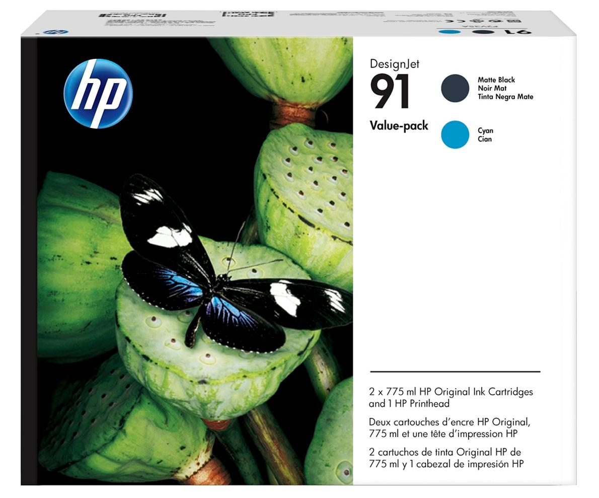 HP 91 (P2V35A) Matte Black/Cyan Printhead and Original Ink...