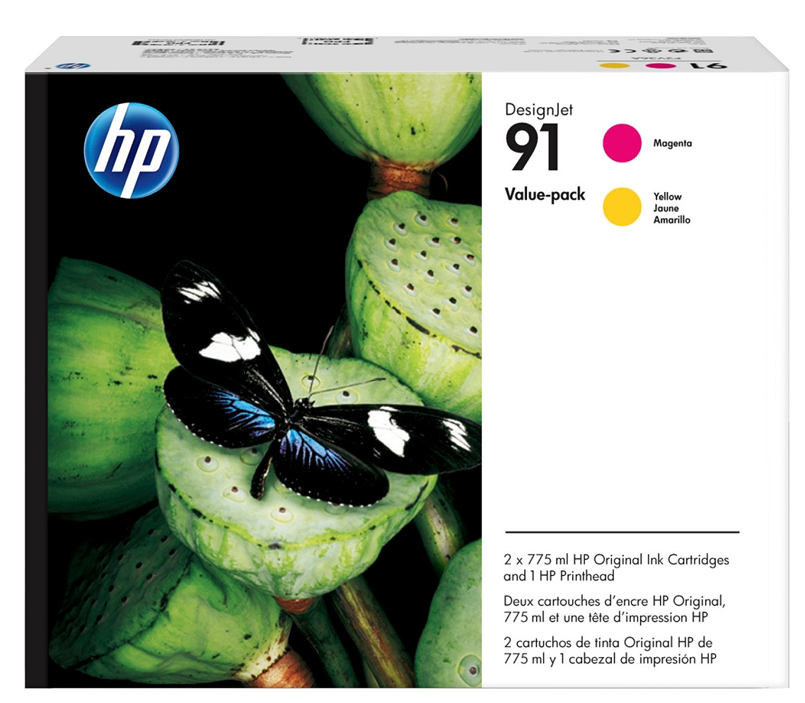HP 91 (P2V36A) Magenta/Yellow Printhead and Original Ink...