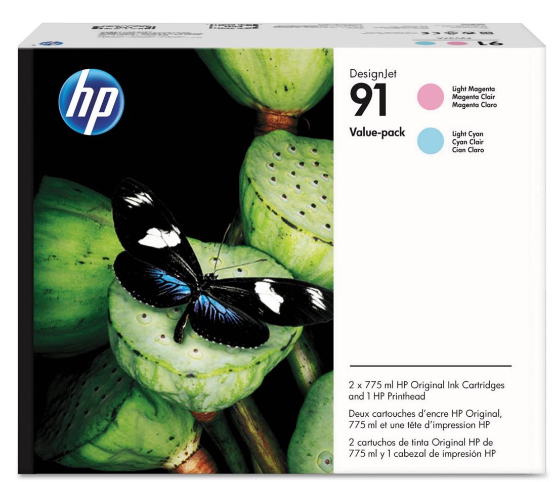 HP 91 (P2V37A) Light Magenta/Light Cyan Printhead and Original...