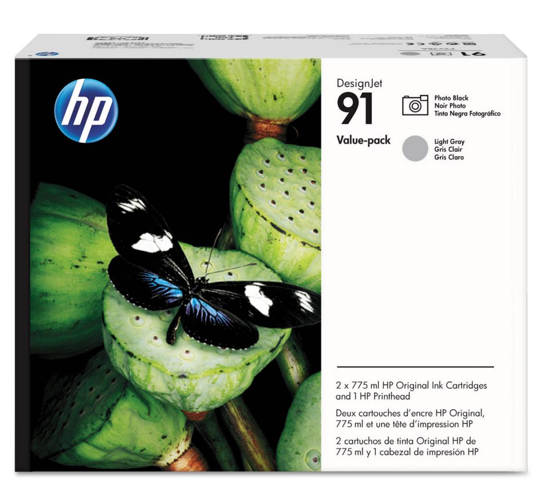 HP 91 (P2V38A) Photo Black/Light Gray Printhead and Original...