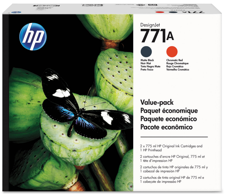 HP 771 (P2V47A) Matte Black/Chromatic Red Printhead and 771A...