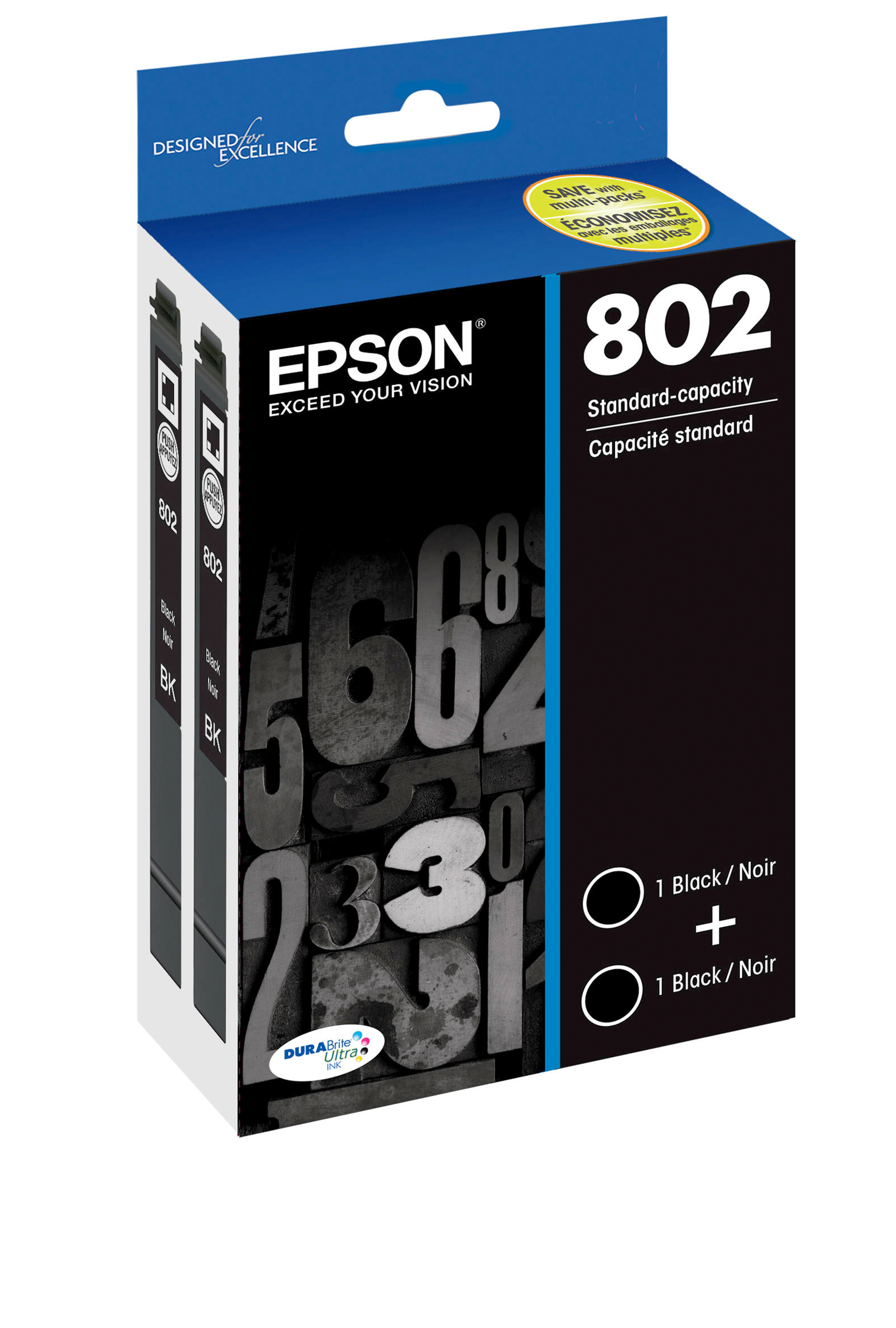 Epson T802, Black Standard-capacity Ink Cartridges, 2 Pack...