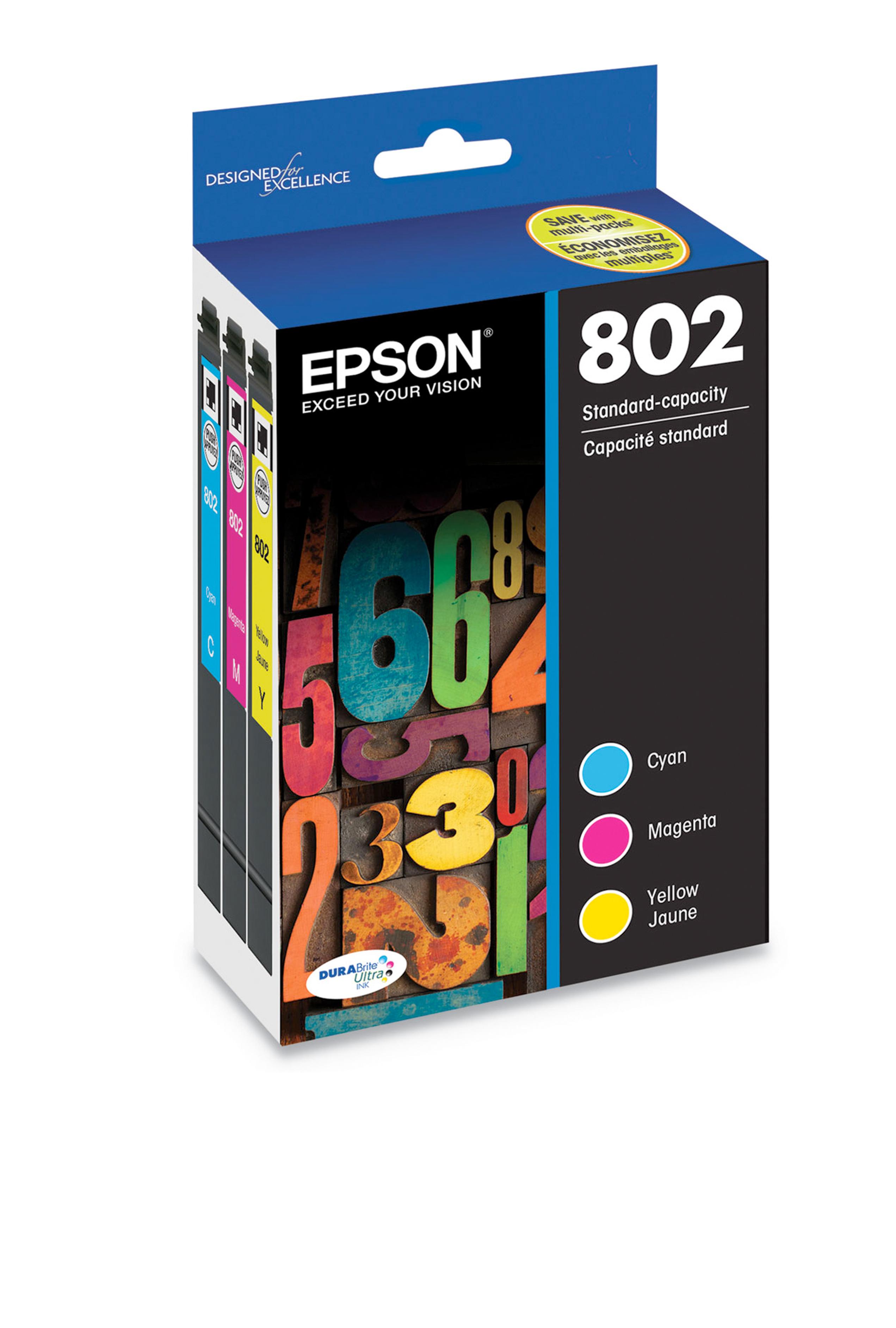 Epson T802, Color Standard-capacity Ink Cartridges, C/M/Y...