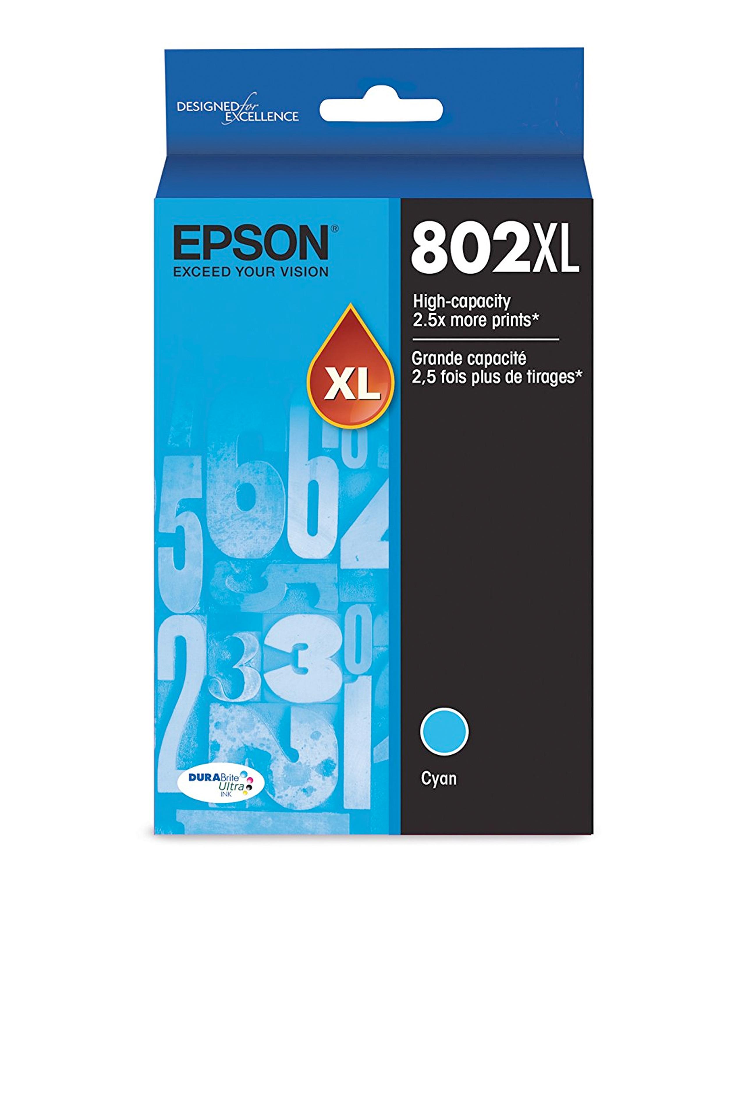 Epson T802XL, Cyan Ink Cartridge, High-capacity (T802XL220-S)