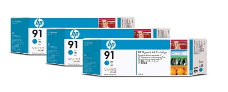 HP 91 (C9483A) 3-Pack Cyan...