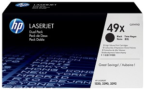 HP 49X (Q5949XD) 2-Pack High Yield Black Original LaserJet Toner Cartridges (2 x 6000 Yield)  (Q5949XD)