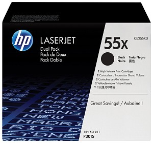 HP 55X (CE255XD) 2-Pack High Yield Black Original LaserJet Toner Cartridges (2 x 12500 Yield) (CE255XD)