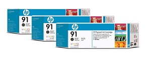 HP 91 (C9480A) 3-Pack Matte Black Original Ink Cartridges (3 x 775 ml) (C9480A)