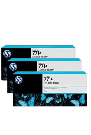 HP 771A (B6Y45A) 3-Pack Photo Black Original Ink Cartridges (3 x 775 ml)  (B6Y45A)